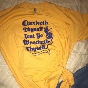 CHECKETH THYSELF funny shirt unisex size XL [NEW]